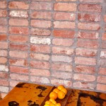 Recycled bricks have also been used to create an interior feature wall