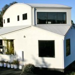 Geometric house design with curves and angles